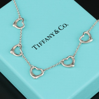 """Elsa Peretti for Tiffany & Co. """"Open Heart"""" Sterling Station Necklace"""