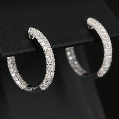 14K 2.53 CTW Diamond Inside-Out Hoop Earrings