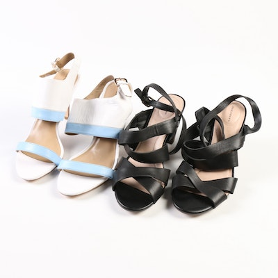 Land's End Alicia and Strappy Leather High-Heeled Sandals