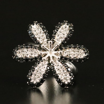Zircon and Spinel Flower Ring