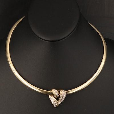 14K Diamond Heart Slide Pendant on Omega Necklace