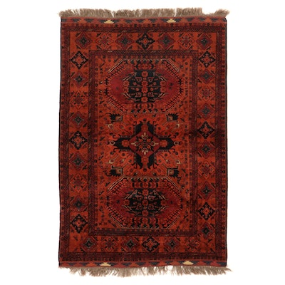 4'3 x 7' Hand-Knotted Afghan Karabagh Style Area Rug