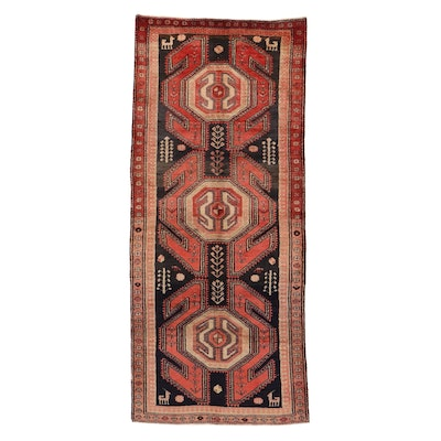 4' x 9'3 Hand-Knotted Northwest Persian Pictorial Long Rug, 1950s
