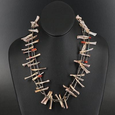 Southwestern Style Sterling Shell and Gemstone Triple Strand Fetish Necklace