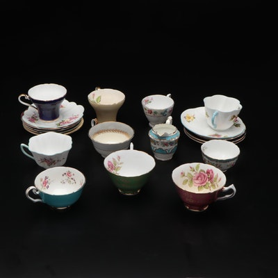 Aynsley and Shelley English Bone China Teacups and Saucers