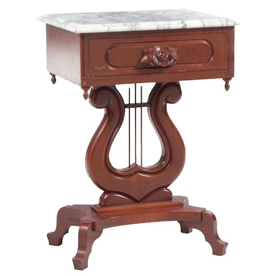 Victorian Style Mahogany Lyre-Base and Marble Top Side Table, Mid-20th Century