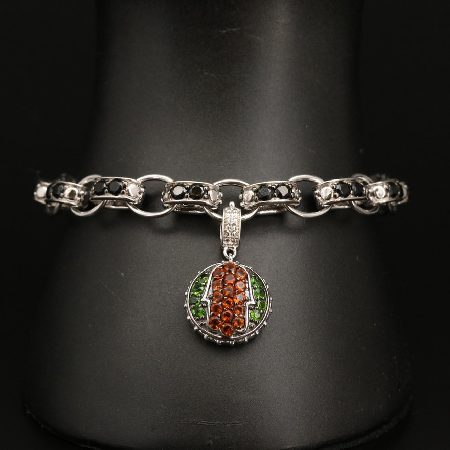 Sterling Silver Citrine, Diopside and Spinel Bracelet with Enhancer Charm