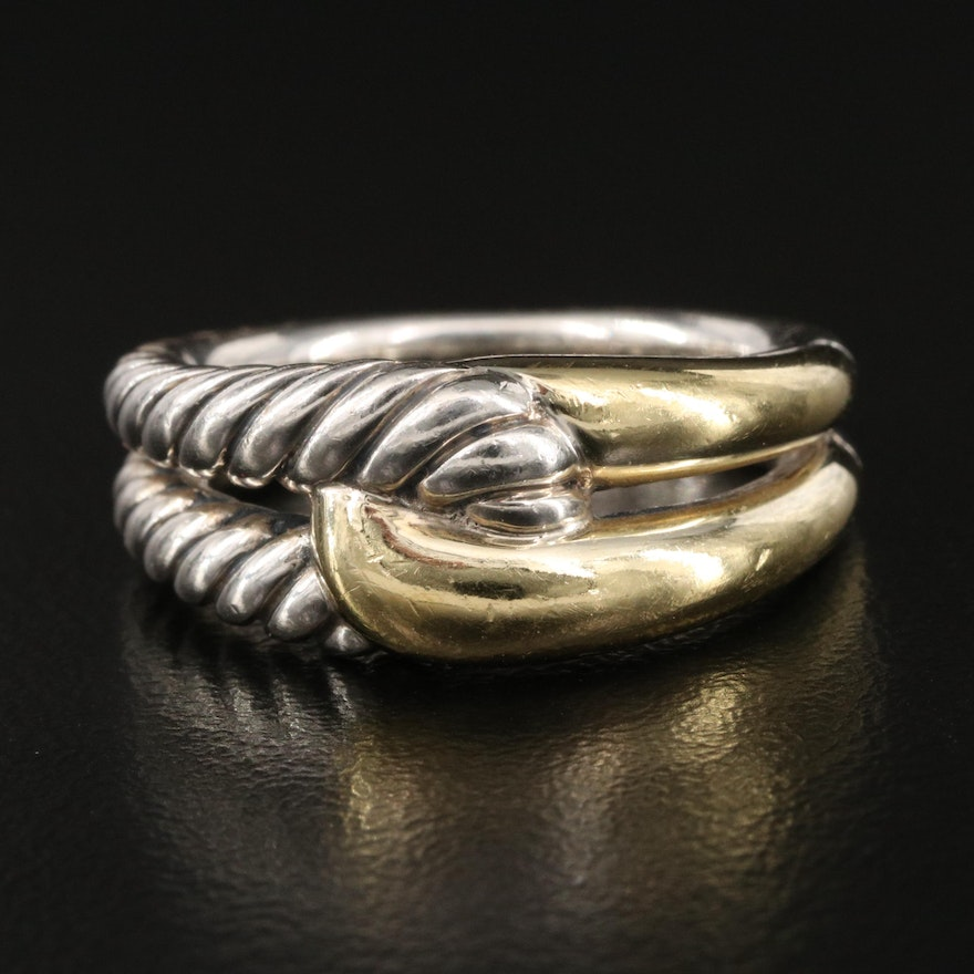 """David Yurman """"Labyrinth"""" Sterling Ring with 18K Accents"""