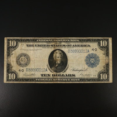 Large Format Series of 1914 $10 Blue Seal Federal Reserve Note
