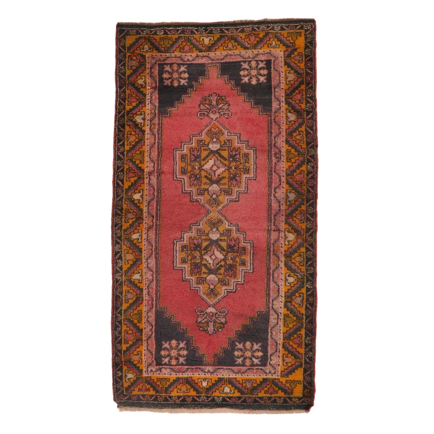 4'2 x 7'10 Hand-Knotted Tukish Village Rug, 1930s