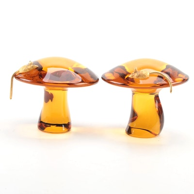 """""""Crystal Charms"""" Amber Glass Mouse on Mushroom Paperweights"""