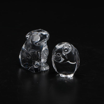 """Baccarat """"Bunny"""" and Steuben """"Owl"""" Crystal Paperweights"""