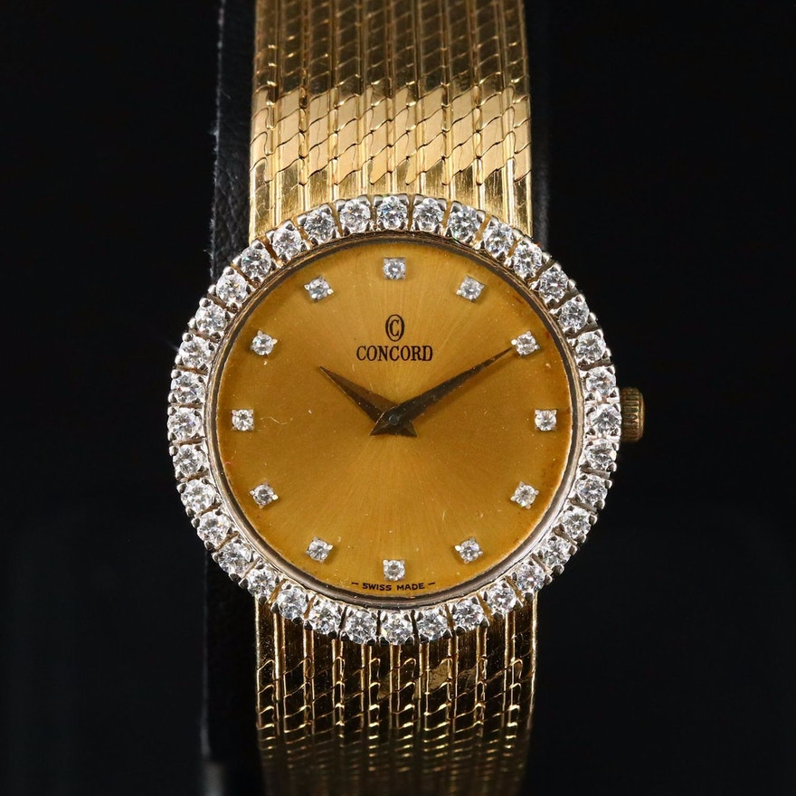 Concord Diamond and 14K Gold Quartz Wristwatch
