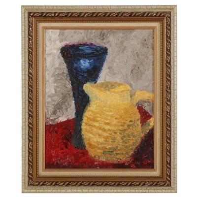 "Thomas McCauley Impasto Oil Painting ""Pitcher and Vase,"" 2001"