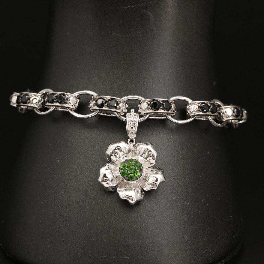 Sterling Silver Diopside and Spinel Bracelet with Flower Enhancer Charm
