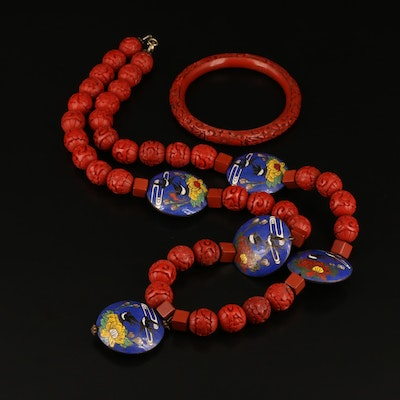 Chinese Lacquer Bangle and Necklace with Cloisonné Beads