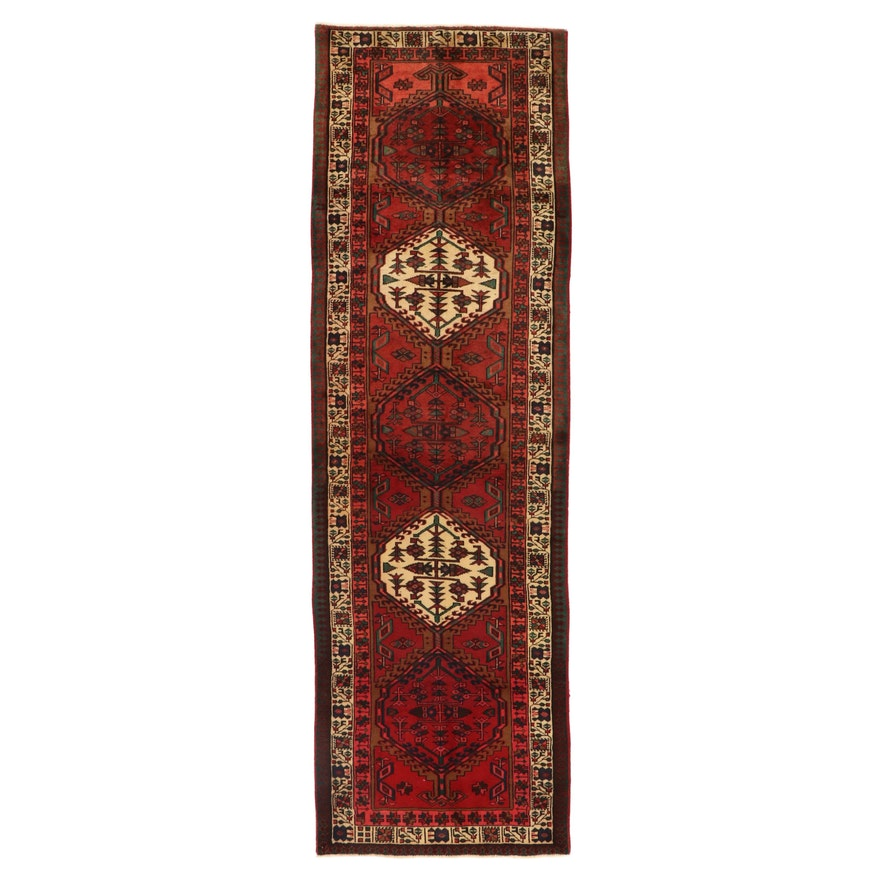 3'3 x 10'10 Hand-Knotted Persian Heriz Long Rug, 1950s