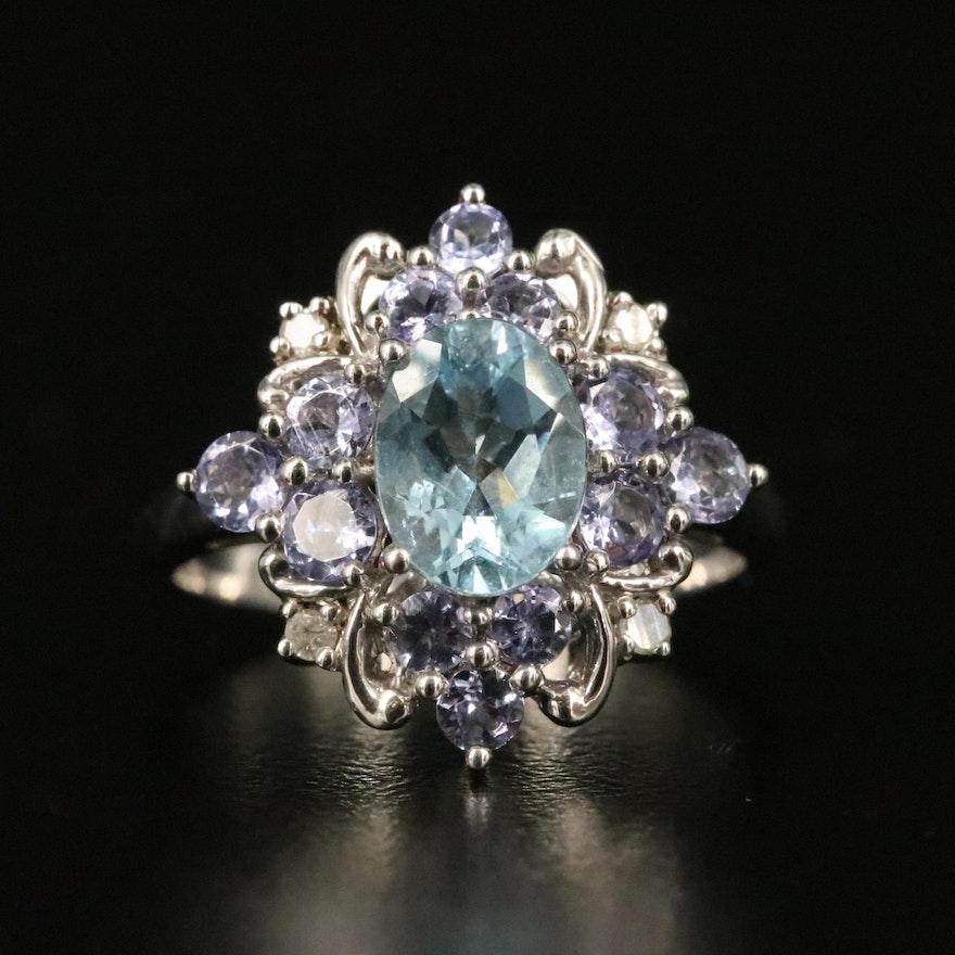 Sterling Aquamarine, Tanzanite and Diamond Ring