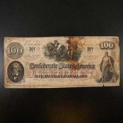 Obsolete $100 Confederate States of America Banknote, 1863