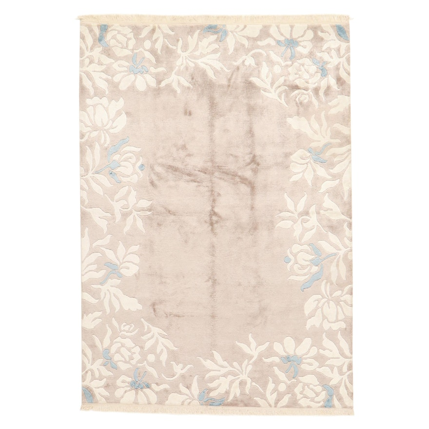 5'7 x 8'2 Hand-Knotted Chinese Art Silk Rug, 2000s