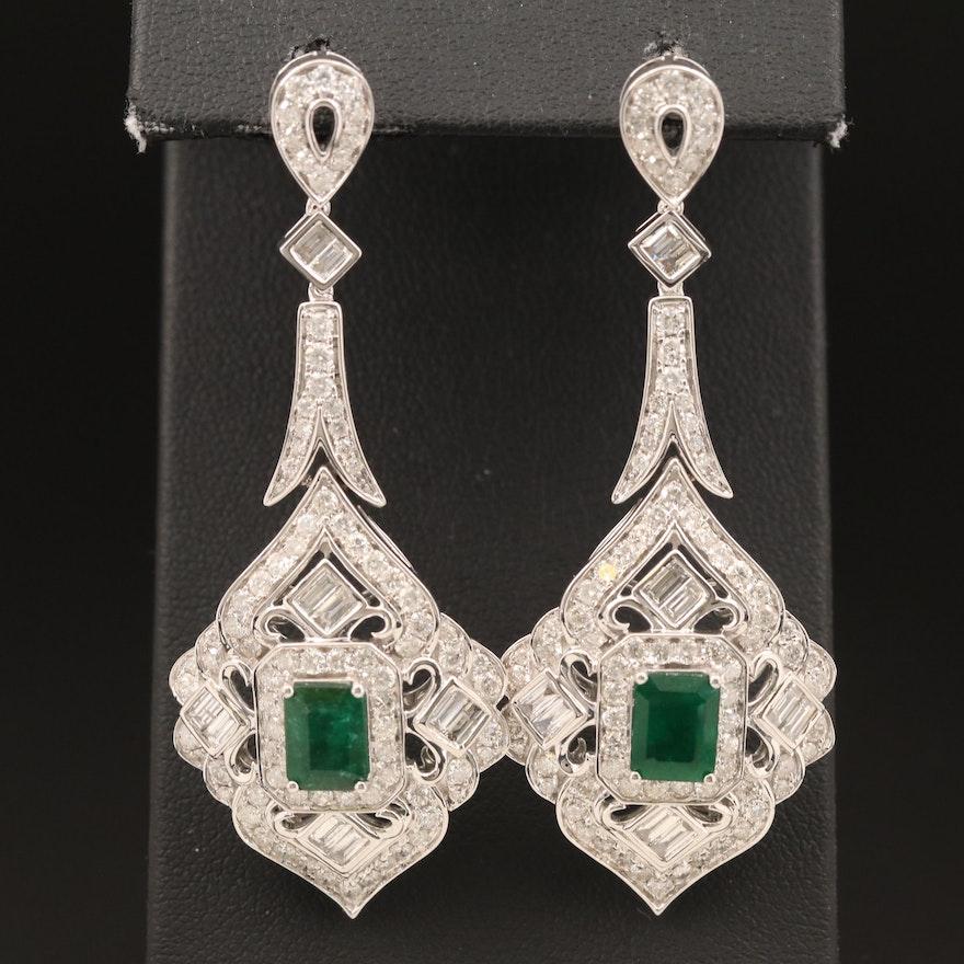 14K 3.16 CTW Emerald and 4.85 CTW Diamond Earrings