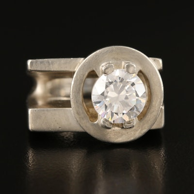 Asymmetrical Sterling Silver Cubic Zirconia Ring