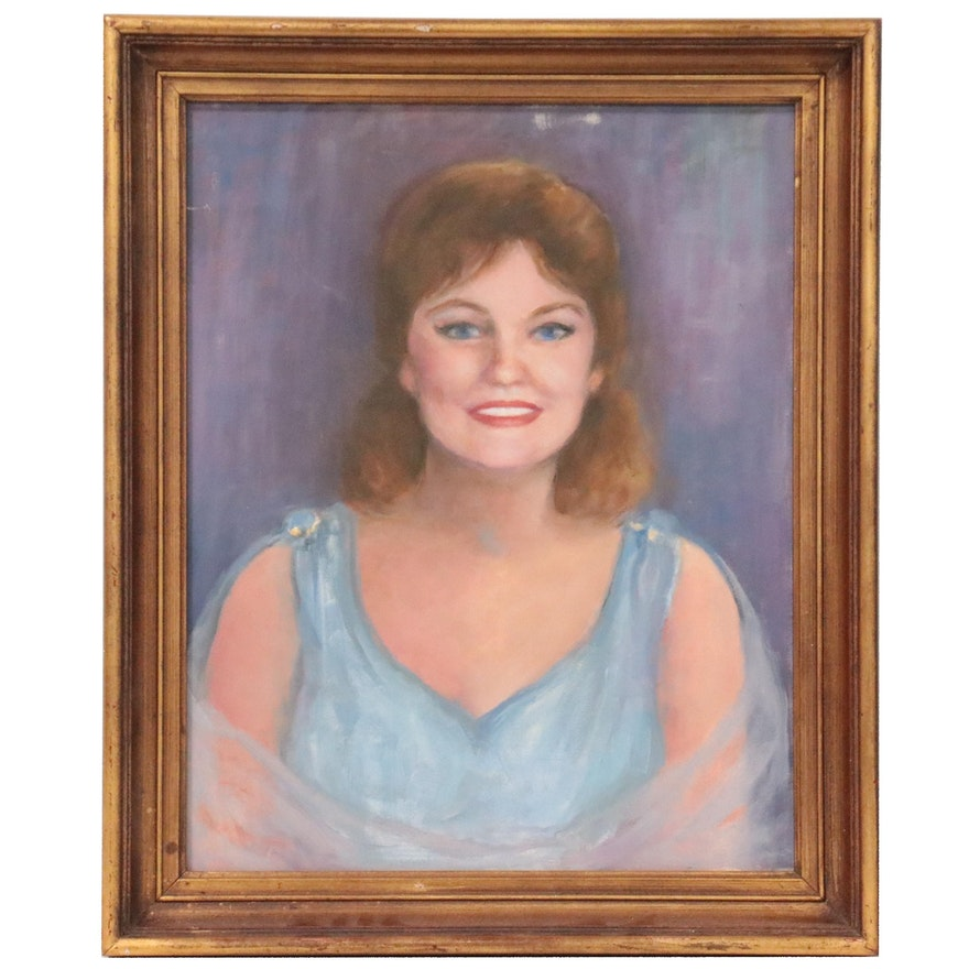 Portrait Oil Painting of a Woman, Late 20th Century