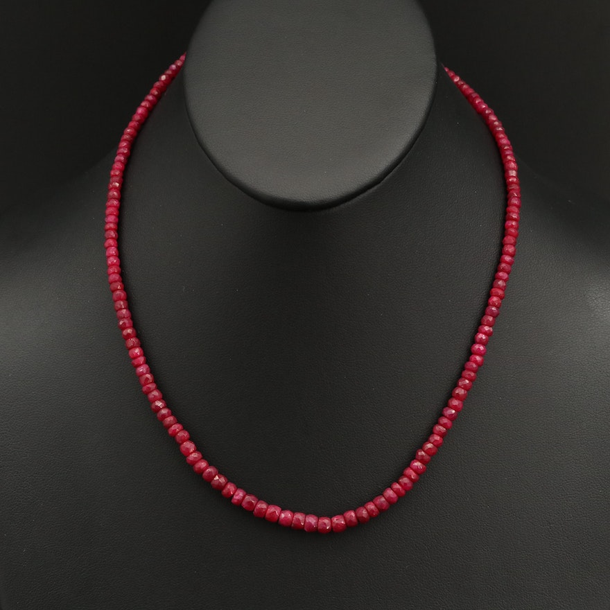 Corundum Beaded Necklace with Sterling Silver Clasp
