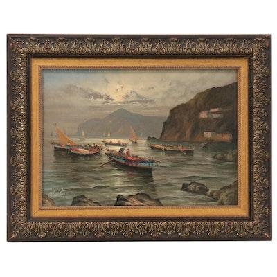 "Mario Galanti Oil Painting ""Fishing Boats, Capri"""