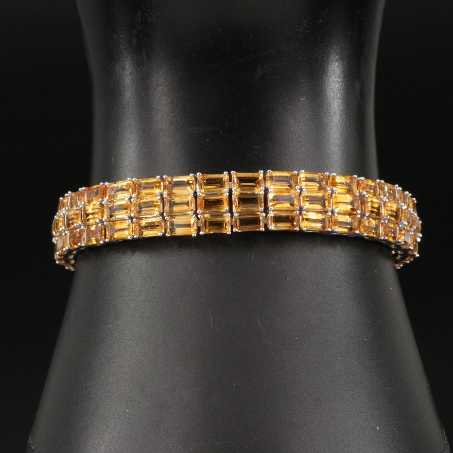 Sterling Citrine Triple Row Bracelet