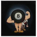 Nicolette Capuano Billiards Ball Strongman  Acrylic Painting, 2010