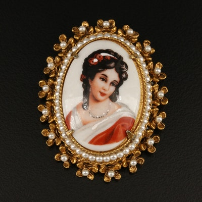 Florenza Brooch with Limoges Enamel Portrait