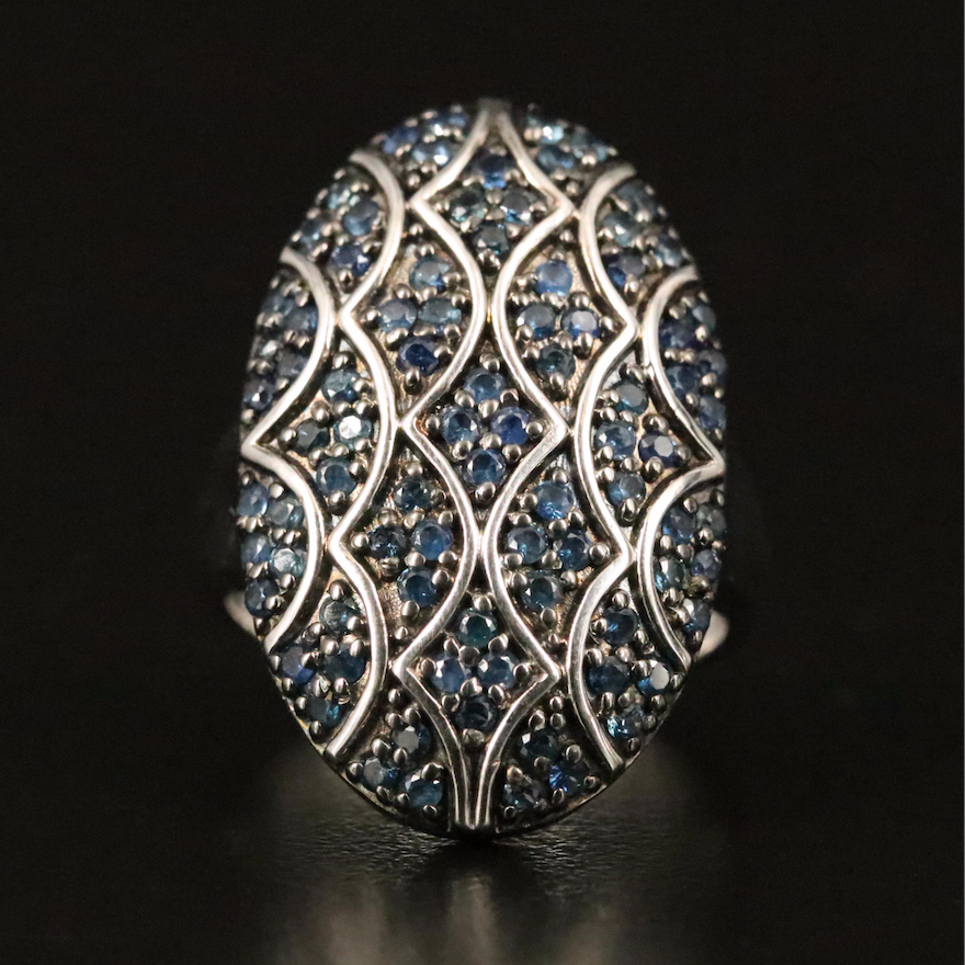 Sterling Sapphire Oval Cluster Ring