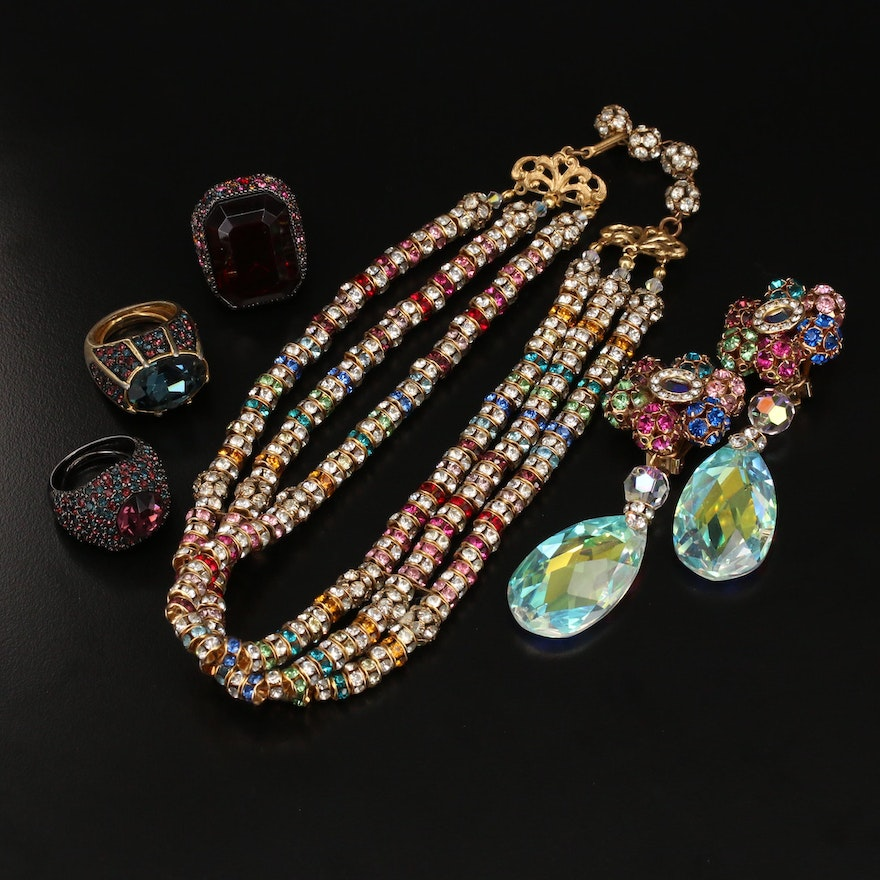 Kenneth Jay Lane Rhinestone Jewelry Including Rings, Necklace and Earrings