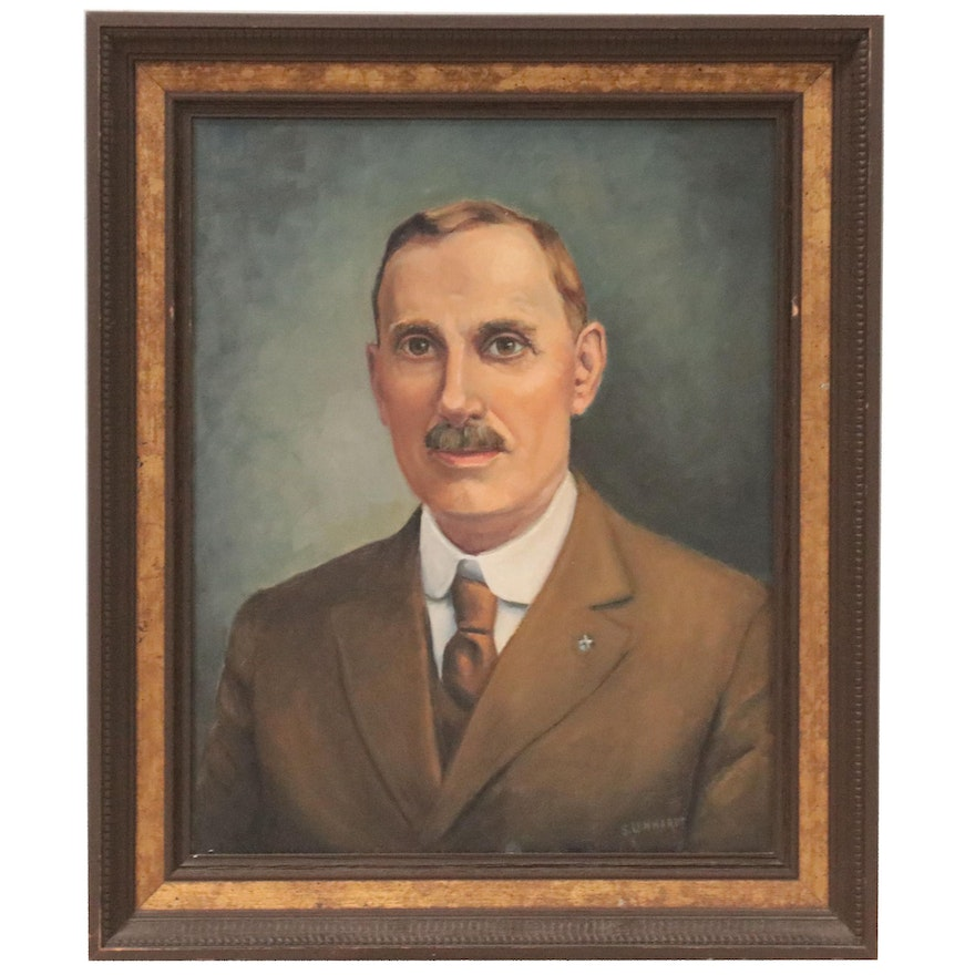 Oil Painting Portrait of a Gentleman in a Suit, Mid-20th Century