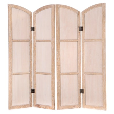 Pair of Cerused Hardwood and Plywood Two-Panel Folding Screens