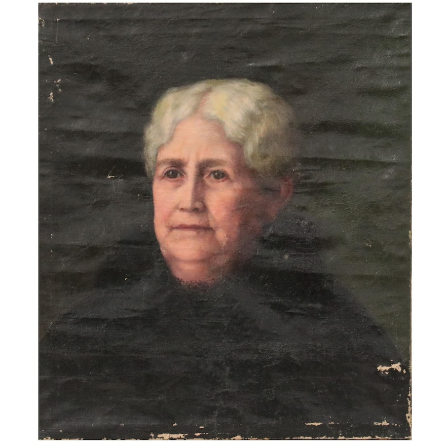 Portrait Oil Painting of a Woman, Early 20th Century