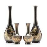 Japanese Gilt Decorated Enamel and Metal Vases, Mid/Late 20th Century
