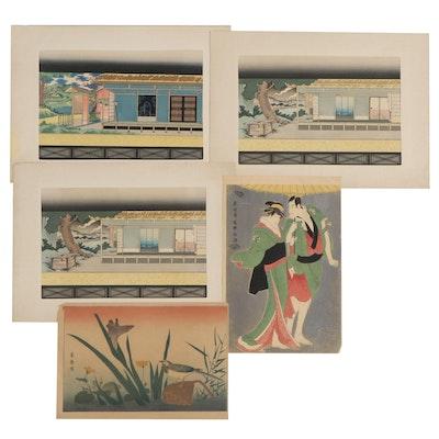 Japanese Woodblocks of Dwellings, Figures, and Wildlife