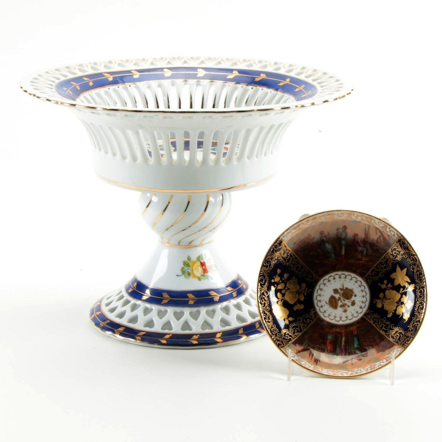 Meissen Porcelain Dish and Continental Openwork Porcelain Compote