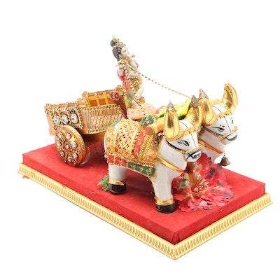 Mixed Media Sculpture of Krishna Riding Chariot