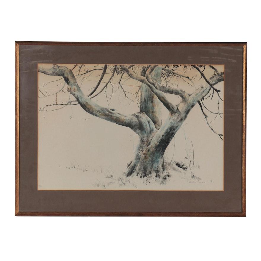 Donald Demauro Landscape Lithograph, Late 20th Century