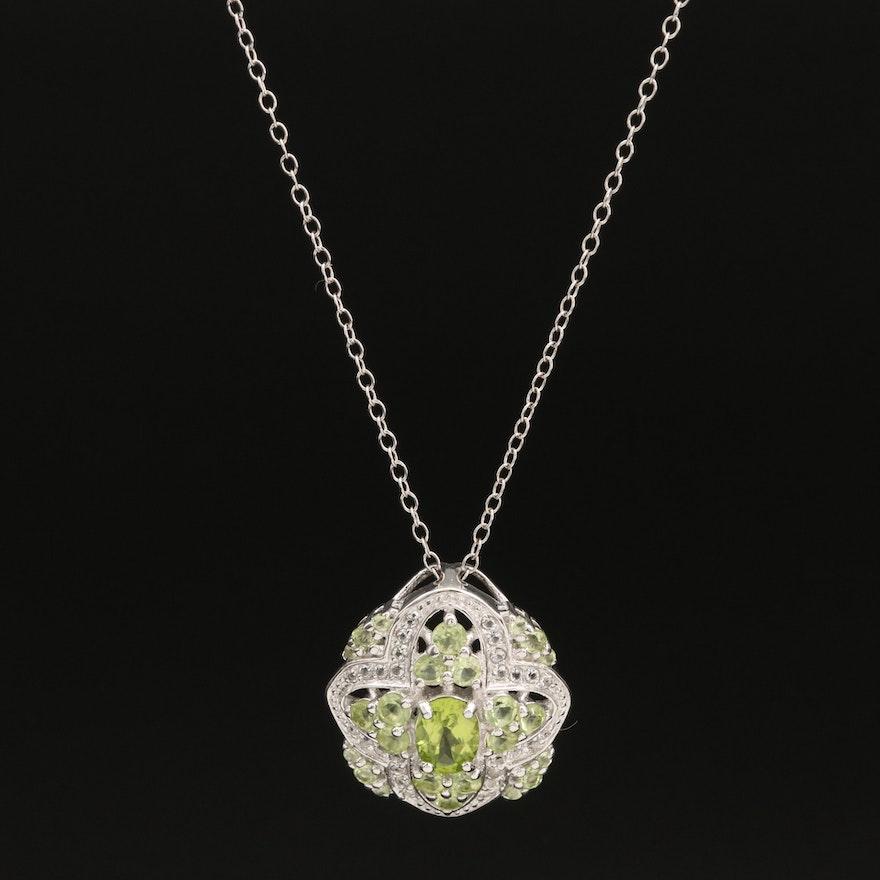 Sterling White Topaz and Peridot Quatrefoil Pendant Necklace