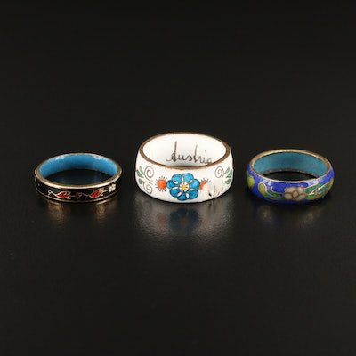 Cloisonné Ring Trio Featuring Floral Designs and Austrian Ring