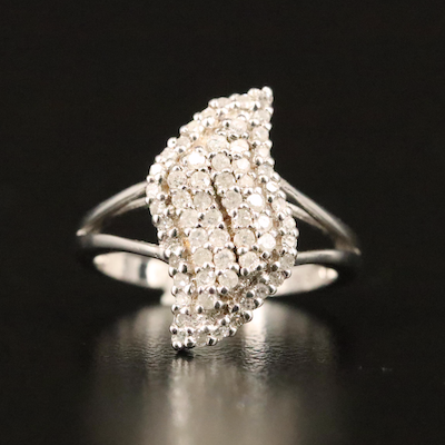 Sterling Diamond Cluster Wave Ring
