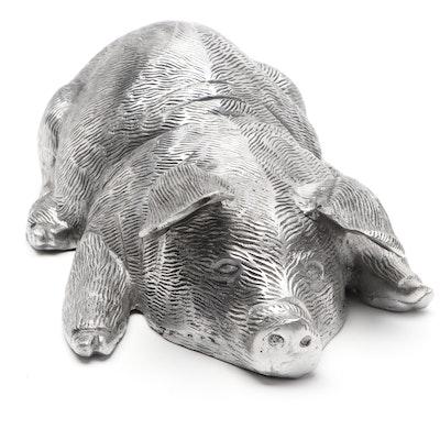 The Silky Way Resting Pig Cast Metal Doorstop