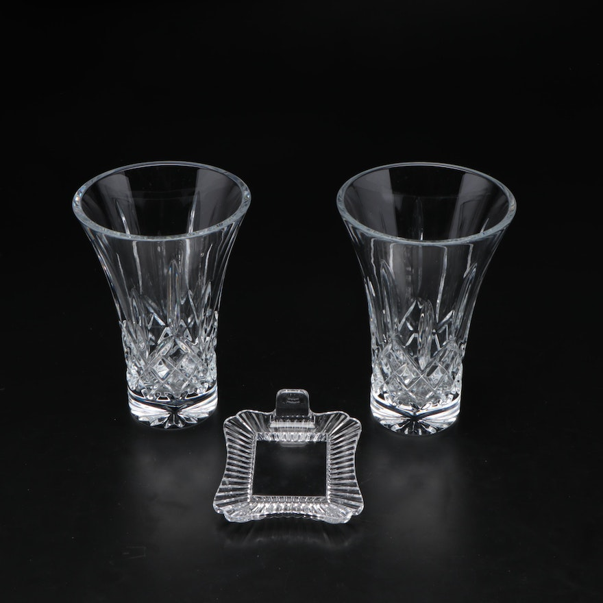 """Waterford Crystal """"Lismore"""" Vases with Marquis by Waterford Picture Frame"""