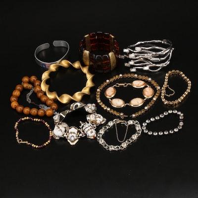 Vintage Assortment of Rhinestone, Garnet and Gemstone Bracelets