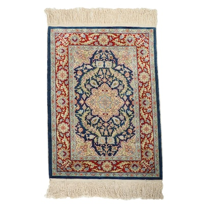 1'8 x 2'10 Hand-Knotted Persian Isfahan Accent Rug