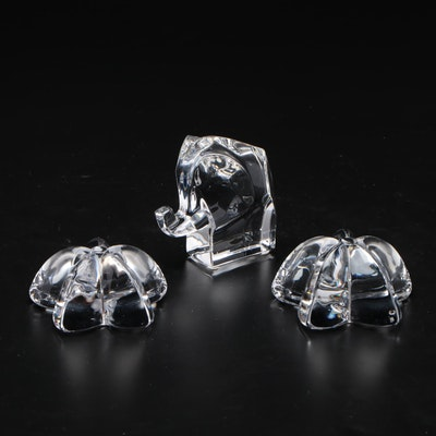Orrefors Crystal Flower and Elephant Figurines